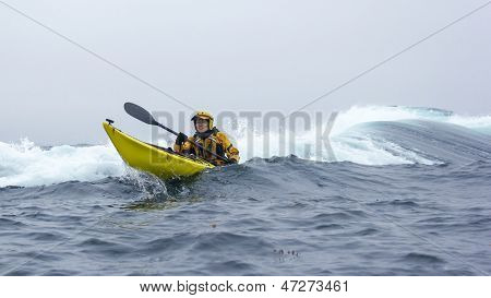 Mendocino, California, Usa - June 8. Kayaker Paddle Open Coast Of Pacific Ocean In Mendocino County