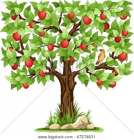 Cartoon apple tree isolated on white background