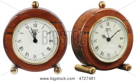 Isolated Old-fashion Clock On White
