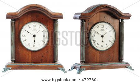 Isolated Old- Fashioned Classic Wooden Clock On White