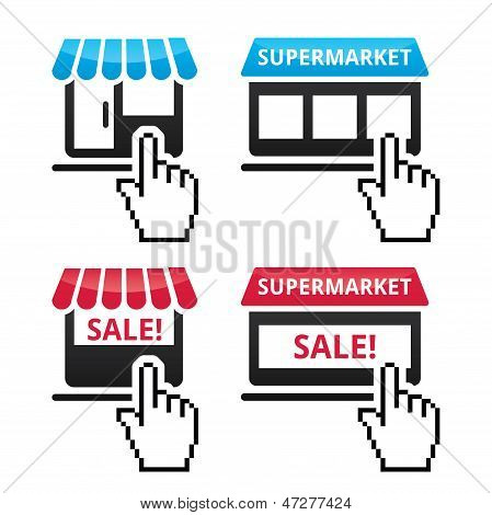 Shop, supermarket, sale icons with cursor hand icon