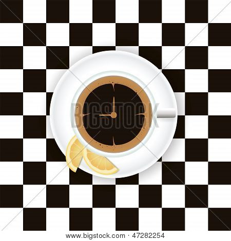 A cup of coffee with a lemon on a saucer on a chess board