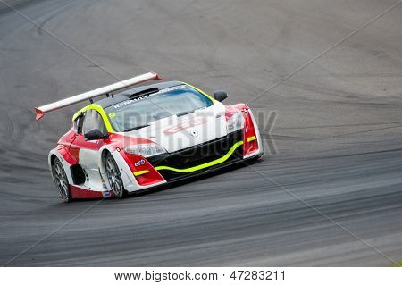 MOSCOW - JUNE 23: Jean-Charles Miginiac of Lompech Sport team race at Megane Trophy V6 race at World Series by Renault in Moscow Raceway on June 23, 2013 in Moscow