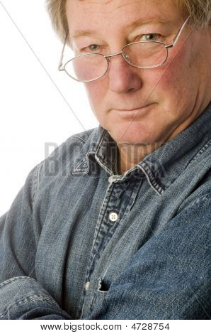 Smiling Relaxed Confident Middle Age Senior Man With Eyeglasses Portrait