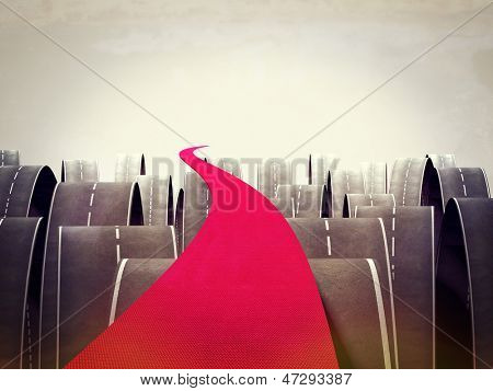 3d image of red carpet and different asphalt ways poster