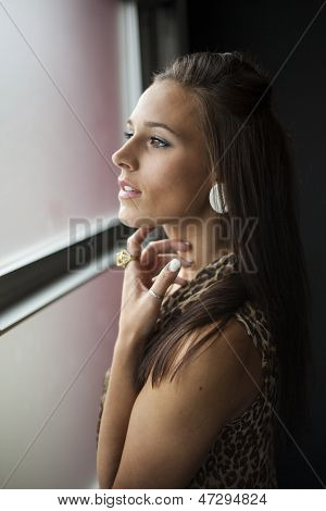 Beautiful Young Woman With Brown Hair And Eyes