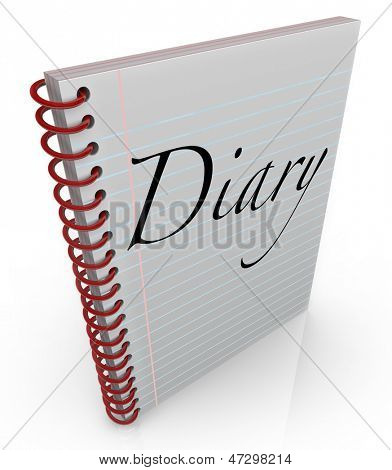A spiral bound notebook of lined paper with the word Diary on the cover to contain memories, thoughts and dreams
