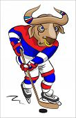 The terrible buffalo - the hockey player in a hockey form conducts a puck with a hockey stick poster
