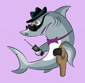 The toothy shark is the gangster in a hat and dark glasses has the gun in a holster and a handheld transceiver poster