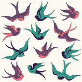 Retro Styled Large Vector Collection of Swallows poster