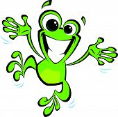Happy cartoon green smiling frog jumping excited and spreading his arms and legs poster