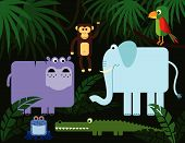 Collection of stylized jungle animals: hippopotamus monkey elephant parrot frog and crocodile. poster