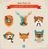 Cute fashion Hipster Animals & pets, set of vector icons poster
