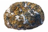Copper ore chalcopyrite (CuFeS2) and quartz. It is a hydrothermal ore. Width of sample is 12 cm. poster