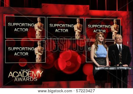 Jennifer Lawrence and Tom Sherak at the 84th Academy Awards Nominations Announcement, Academy of Motion Picture Arts and Sciences, Los Angeles, CA 01-24-12