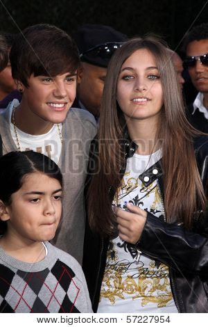 Justin Bieber, Paris Jackson, Blanket Jackson at Michael Jackson Immortalized at Grauman's Chinese Theatre, Hollywood, CA 01-26-12