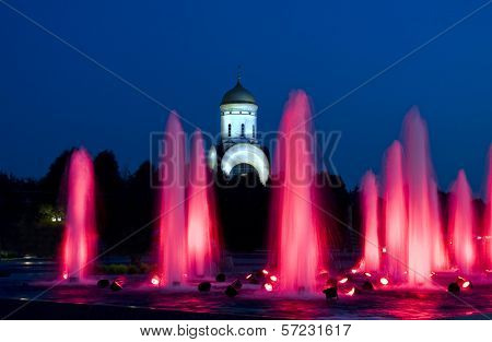 Moscow, Fountains And Church Of St. George
