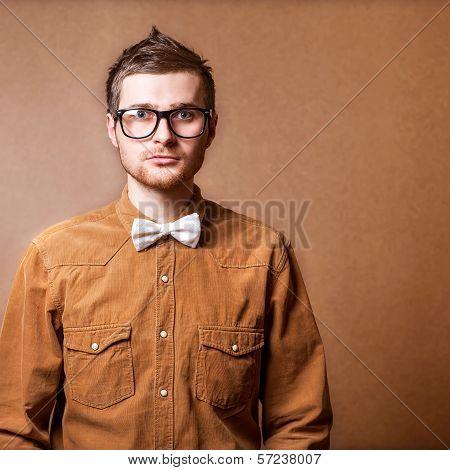 Hipster Style Guy In Studio