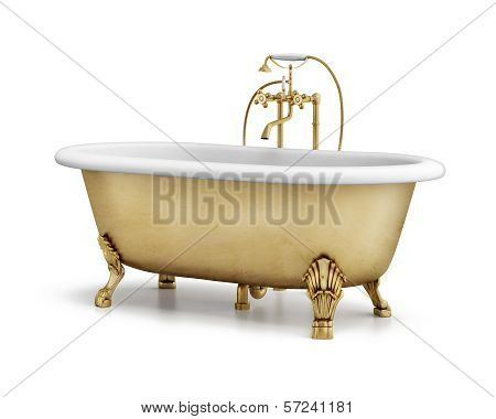 Isolated gold bronze classic bathtub on white