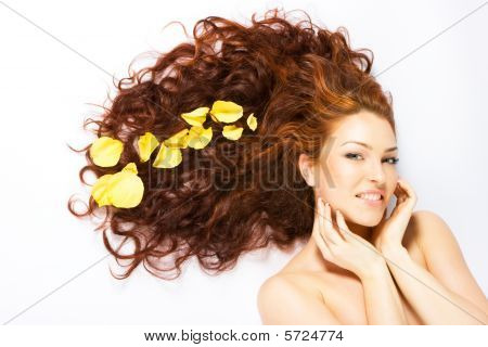Close-up Fresh Bright Lady With Long Red Hair