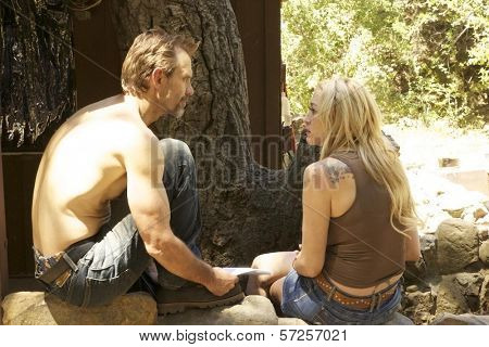 Michael Biehn and Jennifer Blanc On the Set of