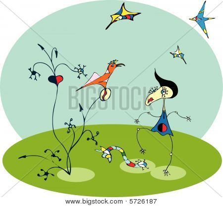 Illustration of Girl and bird in Miro style poster