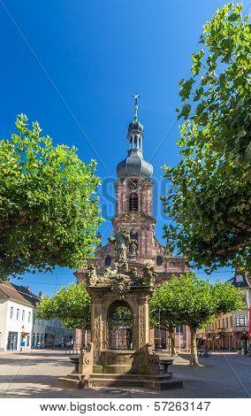 Fountain And Church Of St. Alexander In Rastatt - Baden-wurttemberg, Germany