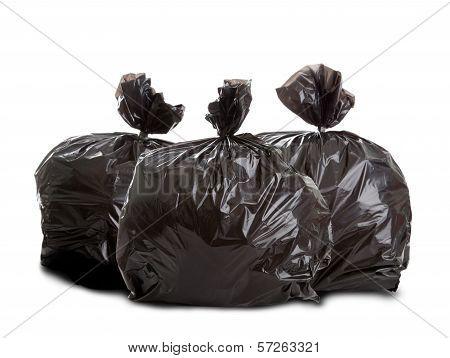 Three Black Rubbish Bags