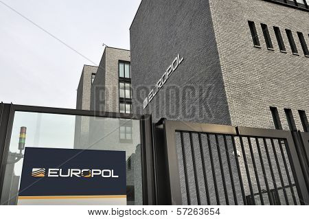 Entrance Of The Europol Headquarter In The Hague, Den Haag.