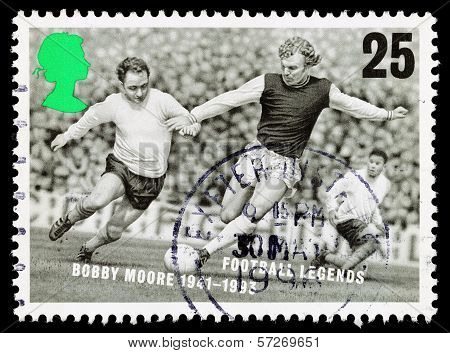 Britain Bobby Moore Football Postage Stamp