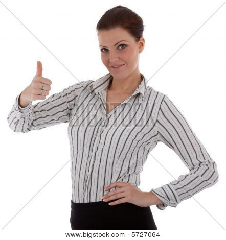 A Confident Young Businesswoman Is Giving The Thumbs-up