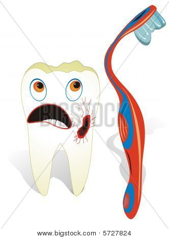 Decayed molar tooth with toothbrush