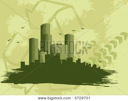 Grungy green city