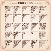 Vintage Style Design Elements 26 Corners Vector poster