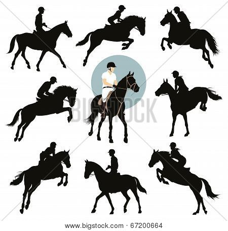 Horse and rider jumping vector silhouettes set. Equestrian sports. EPS8 poster
