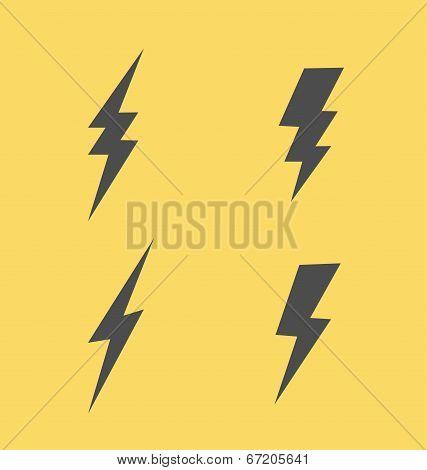Lightning flat icons set