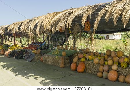 Pumpkins And Fruits For Sale In Market Along A Rural Road