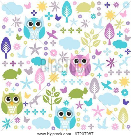 Seamless colorful owl pattern for kids
