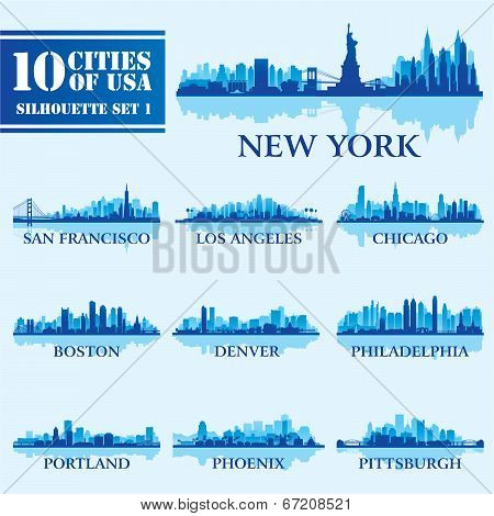 Silhouette City Set Of Usa