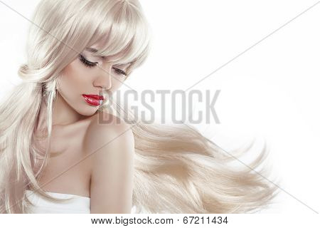 Beautiful Blond With Long Hair. Makeup. Sensual Woman With Blowing Hairstyle Isolated On White Backg