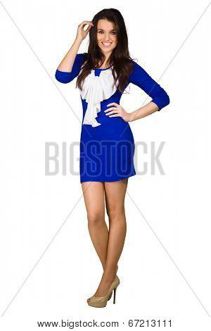 Glamour girl in dress on white