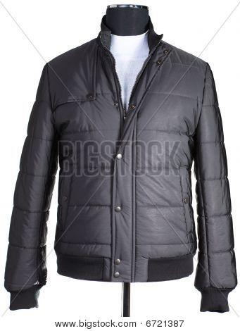Black Men's Warm Jacket Is Dressed A Mannequin.