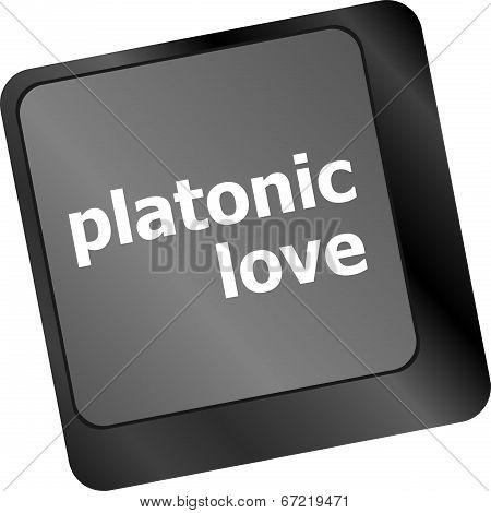 Modern Keyboard Key With Words Platonic Love