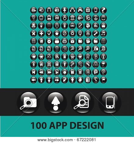 100 app, application, mobile, business, software, glossy black cirlce, round buttons, icons set, vector