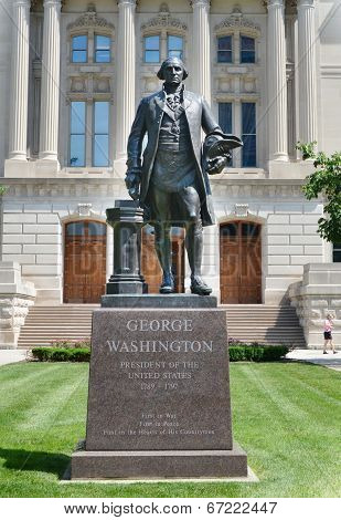 George Washington Sculpture At The Indiana Statehouse