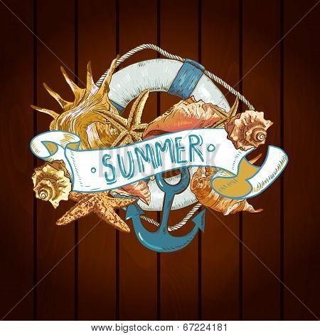 Summer Card with Sea Shells, Anchor, Lifeline