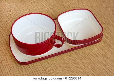 Empty Red Cup Of Coffee On Wooden Table Background