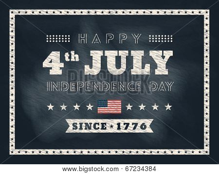 4Th Of July Independence Day Chalkboard Background For Card Or Poster