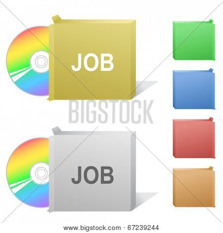 Job. Box with compact disc. Raster illustration.