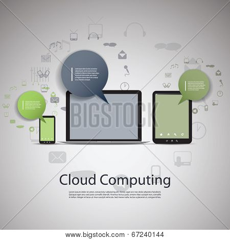 Cloud Computing Concept with Laptop Computer, Tablet and Smartphone. Eps 10 Stock Vector Illustration